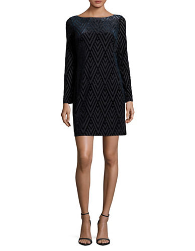 Vince Camuto Velvet Burnout Shift Dress-BLUE-2