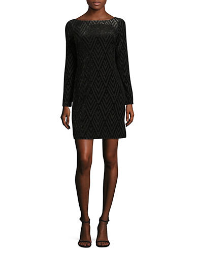 Vince Camuto Velvet Burnout Shift Dress-BLACK-10
