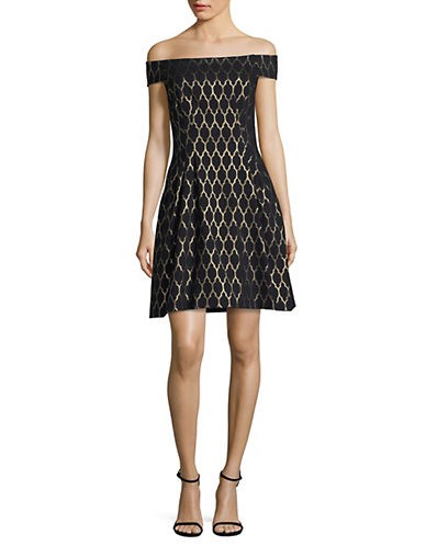 Vince Camuto Off-Shoulder Jacquard Flare Dress-BLACK-10