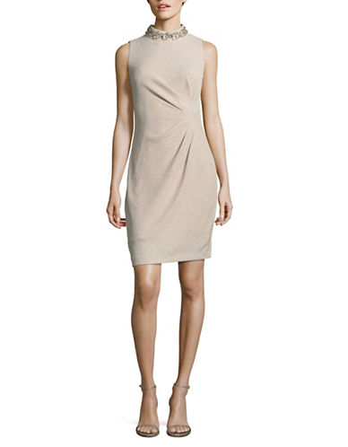 Vince Camuto Beaded Neck Sheath Dress-BEIGE-14