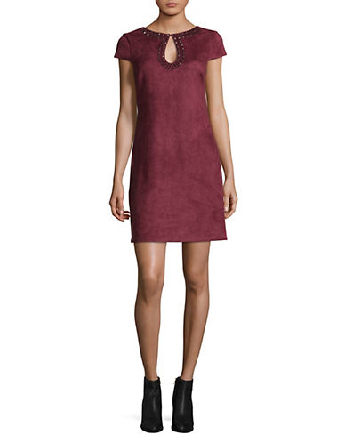 Vince Camuto Suede Shift Dress-RED-12