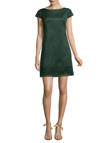 Vince Camuto Faux Suede Sheath Dress-GREEN-12