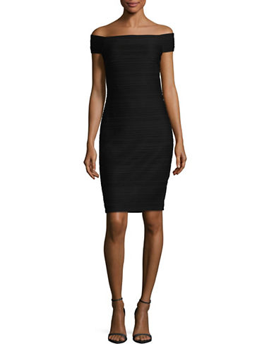 Vince Camuto Knit Pintuck Bodycon Dress-BLACK-10