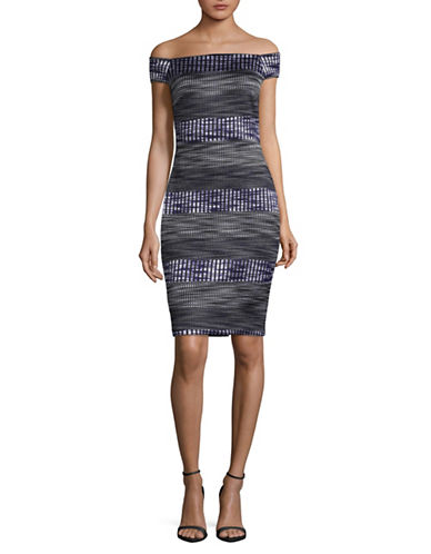 Vince Camuto Off-the-Shoulder Bodycon Dress-GREY MULTI-4