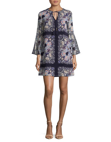 Vince Camuto Paisley Shift Dress-BLUE-6