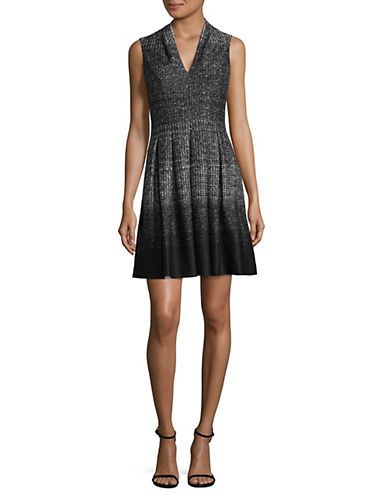 Vince Camuto V-Neck Fit-and-Flare Dress-BLACK MULTI-10