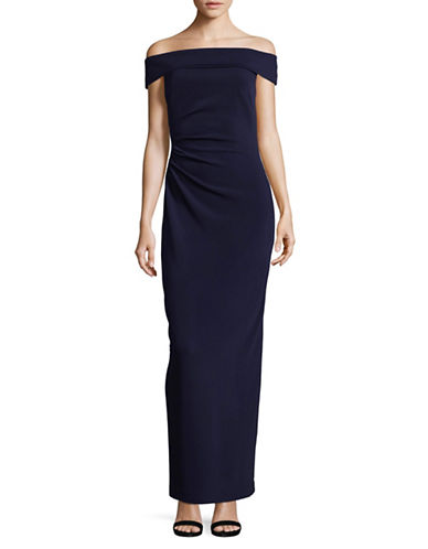 Vince Camuto Off-The-Shoulder Column Gown-NAVY-14