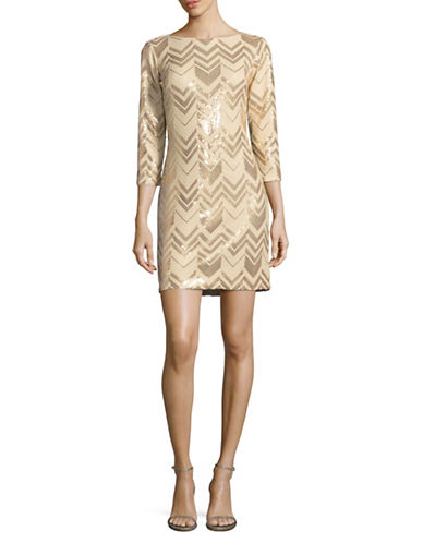 Vince Camuto Sequined Cocktail Dress-GOLD-12