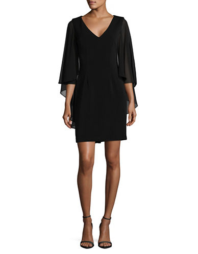 Vince Camuto Chiffon Cape Sheath Dress-BLACK-2