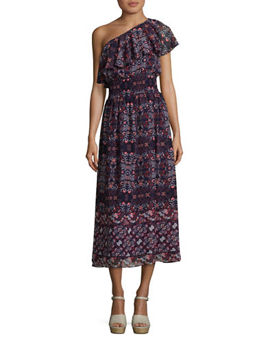 Vince Camuto Floral One-Shoulder Midi Dress-NAVY MULTI-4
