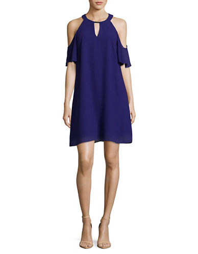 Vince Camuto Cold-Shoulder Keyhole Shift Dress-ROYAL-2