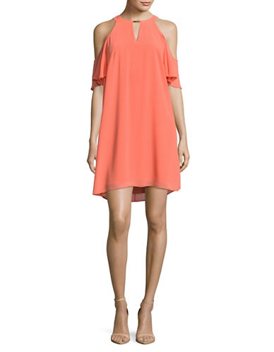 Vince Camuto Cold-Shoulder Keyhole Shift Dress-CORAL-8