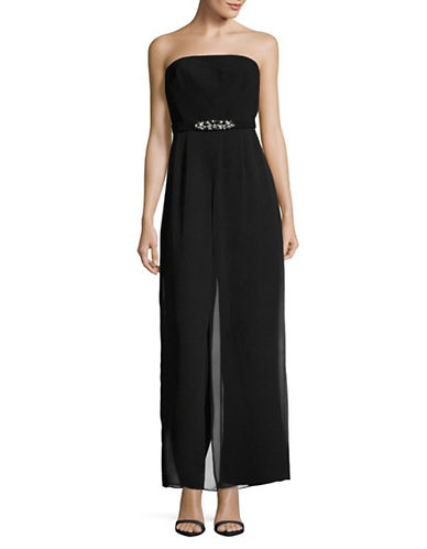 Vince Camuto Belted Strapless Jumpsuit-BLACK-12