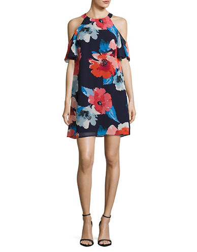 Vince Camuto Cold-Shoulder Swing Dress-MULTI-12