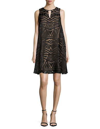 Vince Camuto Geometric Burnout Swing Dress-BLACK/TAN-10