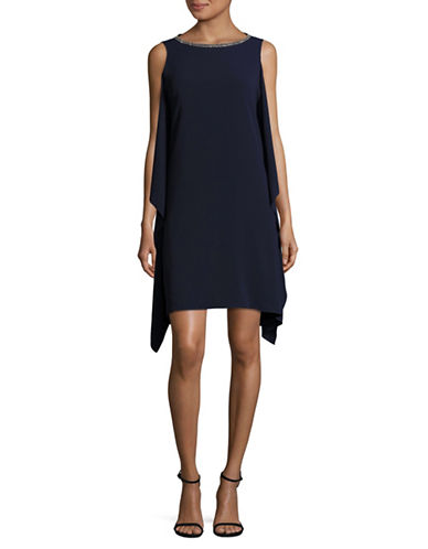 Vince Camuto Ruffled Shift Dress-NAVY-14