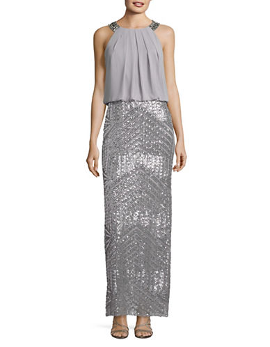 Vince Camuto Blouson Jeweled Halter Neck Gown-SILVER-6