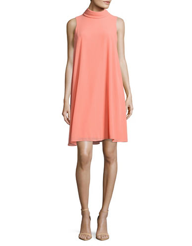 Vince Camuto Mock Neck Float Dress-ORANGE-4
