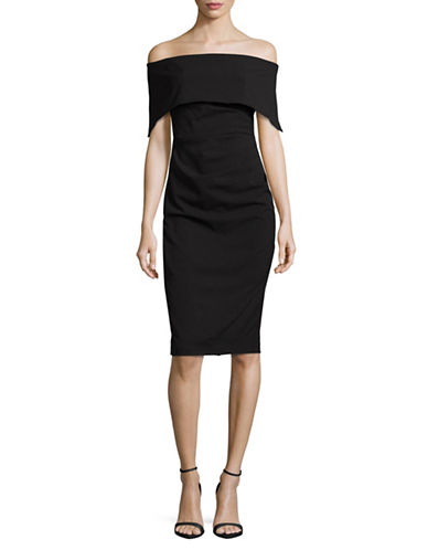 Vince Camuto Off-the-Shoulder Sheath Dress-BLACK-2