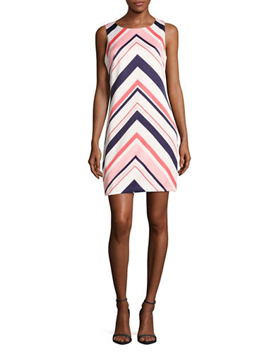Vince Camuto Chevron Satin Shift Dress-PINK MULTI-8