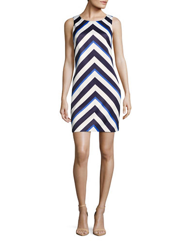 Vince Camuto Chevron Satin Shift Dress-IVORY MULTI-10
