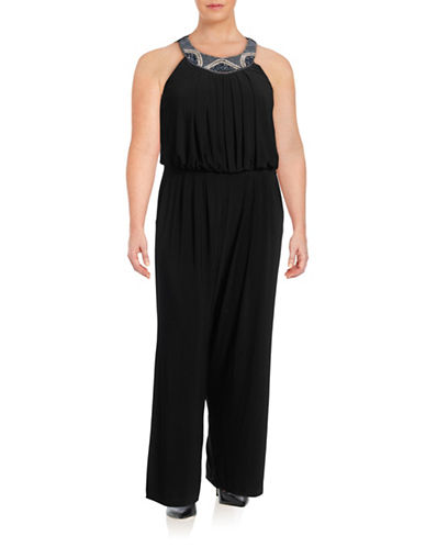 Vince Camuto Embellished Neck Jumpsuit-BLACK-22W