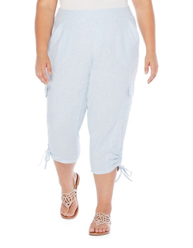 Rafaella Plus Striped Linen Capris-BLUE-16W