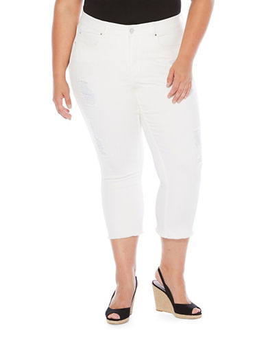 Rafaella Plus Rip and Repair Jeans-WHITE-16W