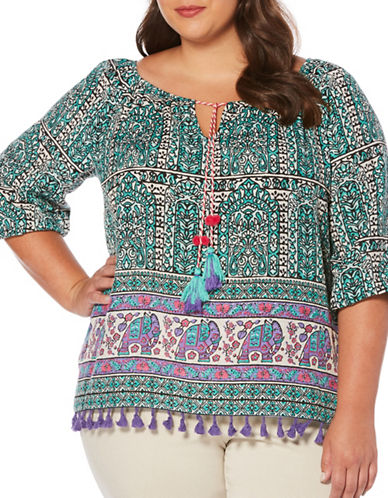 Rafaella Plus Rajasthan Printed Peasant Top-GREEN MULTI-1X