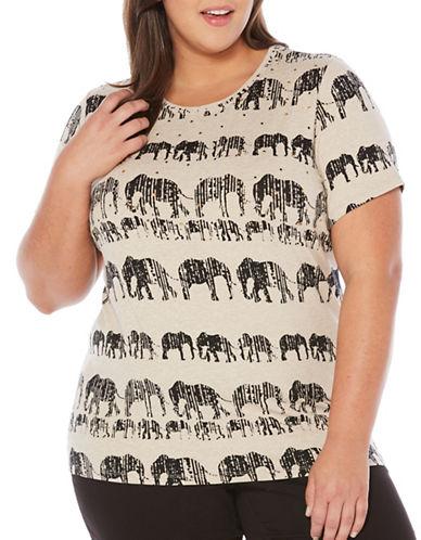 Rafaella Plus Textured Elephant Tee-BEIGE MULTI-3X