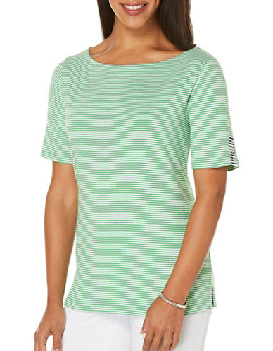 Rafaella Plus Striped Tee-GREEN-2X