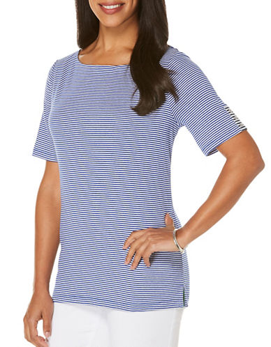 Rafaella Plus Striped Tee-BLUE-2X