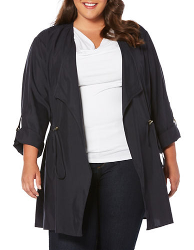 Rafaella Plus Long-Sleeve Sandwashed Anorak Jacket-BLACK-3X