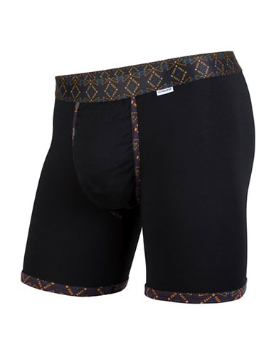 Mypakage Underwear Geometric Contrast Boxer Briefs-BLACK-Small