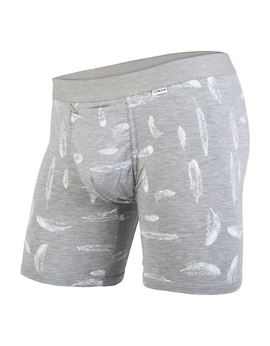 Mypakage Underwear Heathered and Feather Print Boxer Briefs-GREY-Medium