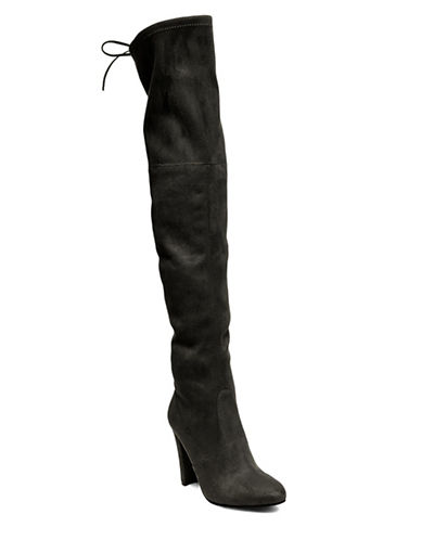 Steve Madden Tall Suede Boots-BLACK-8