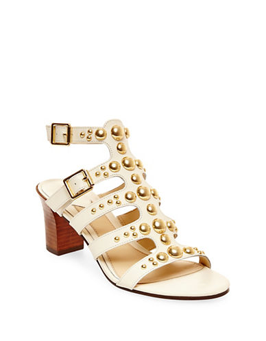 B Brian Atwood Blaise Studded Leather Sandals-WHITE-10