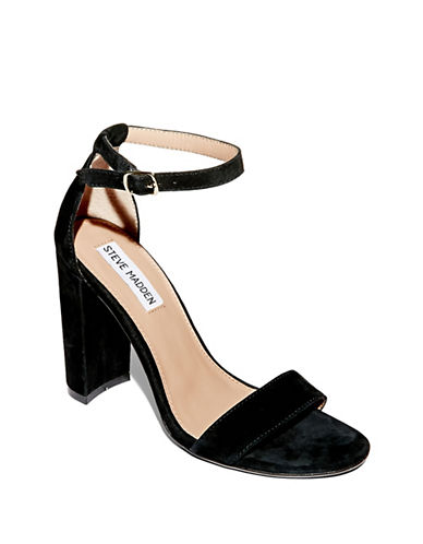 Steve Madden Carrson Suede Ankle Strap Heels-BLACK-6.5