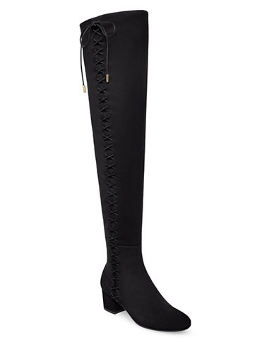 B Brian Atwood Mally Over Knee Lace-Up Boots-BLACK-7