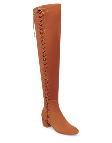 B Brian Atwood Mally Over Knee Lace-Up Boots-BROWN-6
