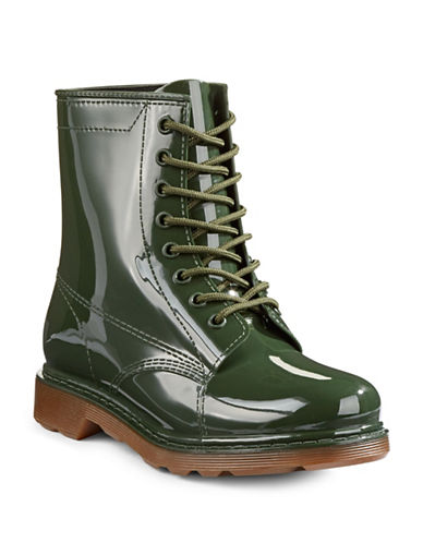 Design Lab Lord & Taylor Mist Rubber Lace-Up Boots-GREEN-6
