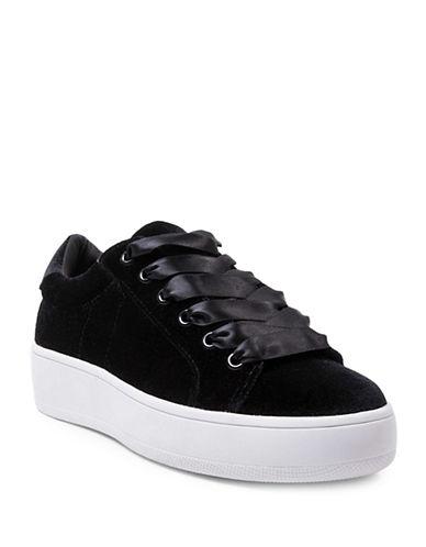 Steve Madden Bertie Velvet Platform Sneakers-BLACK-8.5