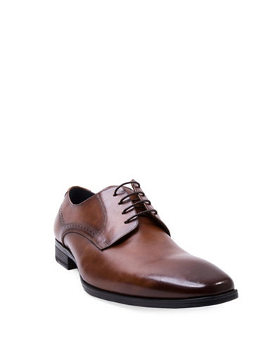Steve Madden Fendur Brogued Leather Derby Shoes-BROWN-8