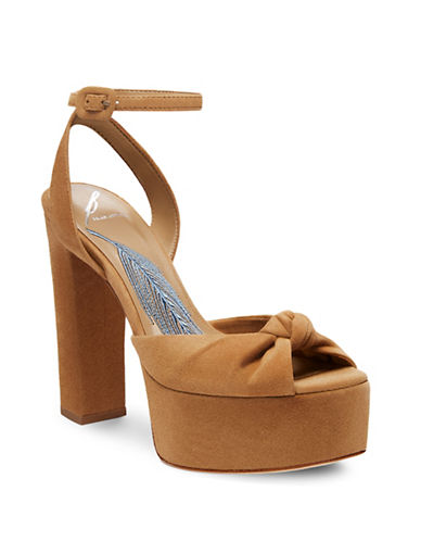 B Brian Atwood Gabby Suede Dress Sandals-CAMEL-9.5