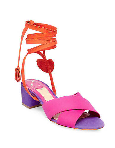 B Brian Atwood Astor Tie Up Leather Mules-PINK-5