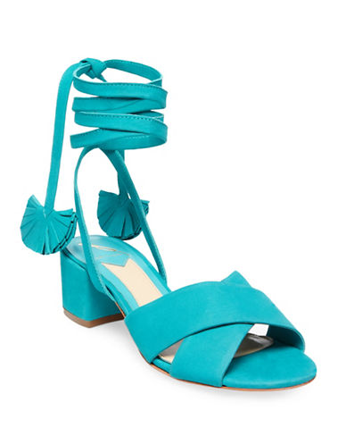 B Brian Atwood Astor Tie Up Leather Mules-AQUA-5