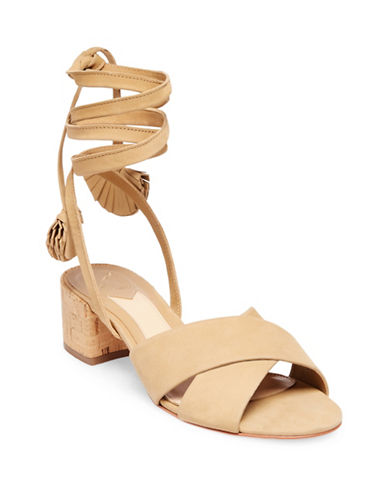 B Brian Atwood Astor Tie Up Leather Mules-CAMEL-7.5