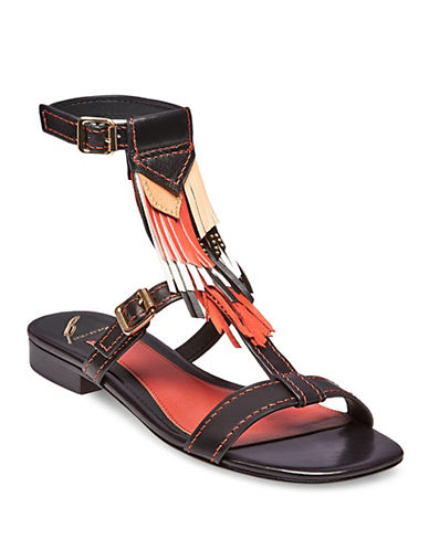 B Brian Atwood Megan Fringed Sandals-RUST MULTI-7.5
