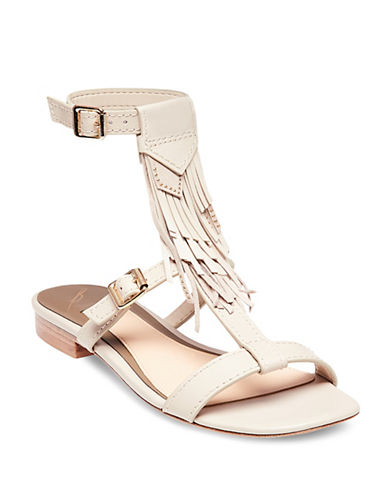 B Brian Atwood Megan Fringed Sandals-BONE MULTI-6