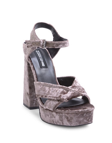 Design Lab Lord & Taylor Sole Dress High Heel Sandals-SILVER-9.5